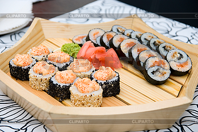 Sushi on wood plate | High resolution stock photo |ID 3029501