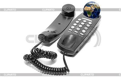 Czarny telefon biuro z ziemi globu | Foto stockowe wysokiej rozdzielczości |ID 3029520