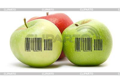 Dojrzałe jabłka z kodem kreskowym   Foto stockowe wysokiej rozdzielczości  ID 3029718