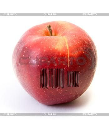 Red apple z kodem kreskowym | Foto stockowe wysokiej rozdzielczości |ID 3029719