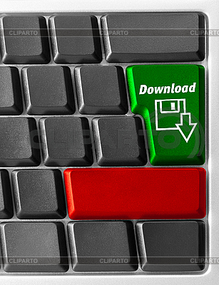 Computer-Tastatur mit Download-Taste | Foto mit hoher Auflösung |ID 3029741