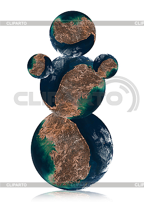 Snowman made from globes with Korea | High resolution stock photo |ID 3029824