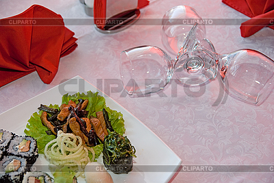 Sushi set plate and vine glass  | High resolution stock photo |ID 3030400
