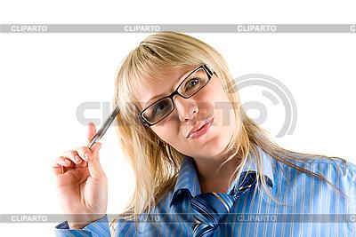 Geschäftsfrau mit Kugelschreiber | Foto mit hoher Auflösung |ID 3030475