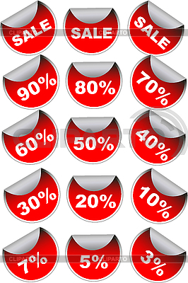 Red sale labels and discount stickers | High resolution stock illustration |ID 3030570