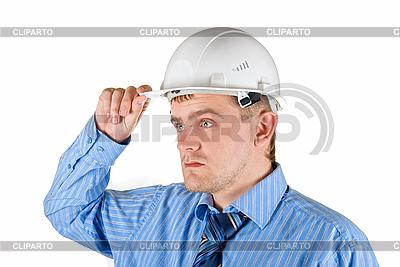 Mann in weißem Helm | Foto mit hoher Auflösung |ID 3030864