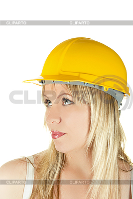 Woman in yellow building helmet    High resolution stock photo  ID 3030874