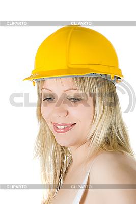 Frau im gelben Aufbau-Helm | Foto mit hoher Auflösung |ID 3030882