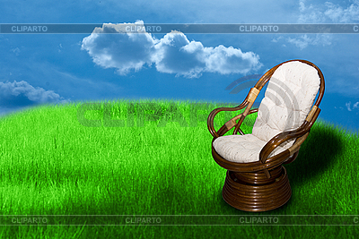 Rocking chair on green grass  | 높은 해상도 사진 |ID 3031480