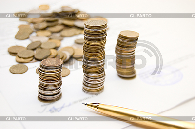 Coins on contract  | High resolution stock photo |ID 3031906