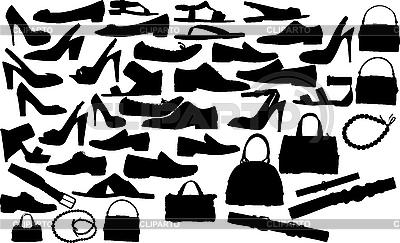 Sylwetki obuwia i toreb | Klipart wektorowy |ID 3033622