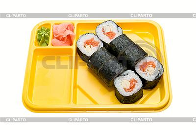 Gelber Teller mit Rollen von Sushi | Foto mit hoher Auflösung |ID 3034843
