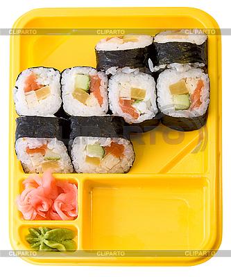 gelber teller mit rollen von sushi foto mit hoher aufl sung cliparto. Black Bedroom Furniture Sets. Home Design Ideas
