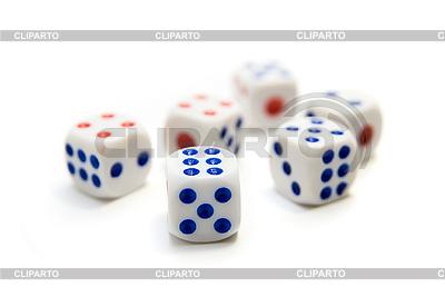 Niebieskie i czerwone kostki   Foto stockowe wysokiej rozdzielczości  ID 3034895