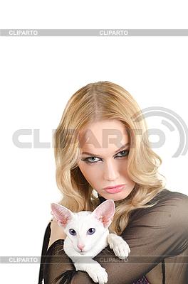 Frau mit orientalischer kurzhaariger Katze | Foto mit hoher Auflösung |ID 3036256