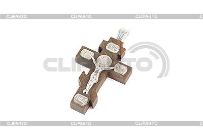 Srebrny i drewniany krzyż | Foto stockowe wysokiej rozdzielczości |ID 3038500