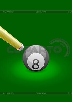坚持绿色的桌子上的台球球 | 向量插图 |ID 3020003