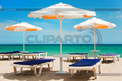 Beach umbrellas and chairs    High resolution stock photo  ID 3020492