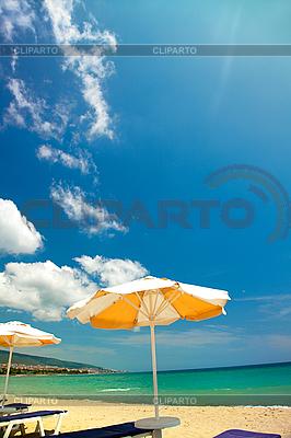 Orange umbrellas and chairs  | High resolution stock photo |ID 3020493