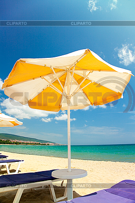 Bright beach umbrellas and chairs  | High resolution stock photo |ID 3020495