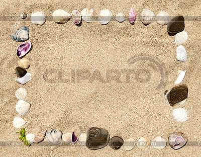Sea shells and stones frame    High resolution stock photo  ID 3020496