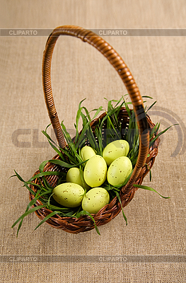 Basket with Easter eggs and grass  | High resolution stock photo |ID 3020506