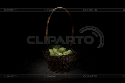Easter basket on canvas background  | High resolution stock photo |ID 3020512