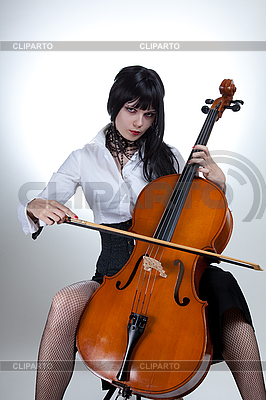 Young woman playing cello  | High resolution stock photo |ID 3020514