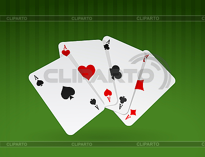 Playing ace cards on green | Stock Vector Graphics |ID 3020532