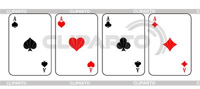 Asy z kart do gry | Klipart wektorowy |ID 3020536