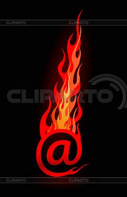 E-mail Zeichen mit Flamme | Stock Vektorgrafik |ID 3020595