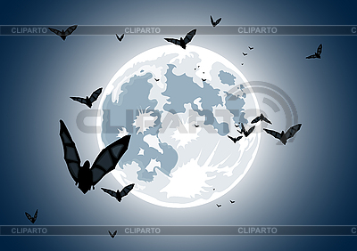 Realistic moon with bats | Stock Vector Graphics |ID 3021541