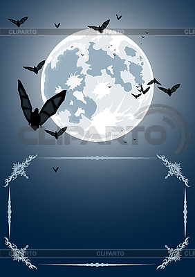 Halloween frame with moon and bats | Stock Vector Graphics |ID 3021545