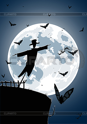 Scarecrow with full moon   Stock Vector Graphics  ID 3021553