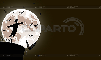 Scarecrow with full moon | Stock Vector Graphics |ID 3021555