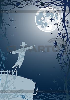 Scarecrow under moon | Stock Vector Graphics |ID 3021557