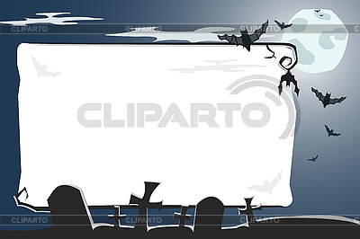 Halloween illustration of cemetery with copy-space    Stock Vector Graphics  ID 3021561