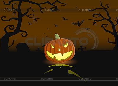 An evil pumpkin on the grave | Stock Vector Graphics |ID 3021571