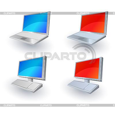 노트북 및 PC 웹 아이콘 | 벡터 클립 아트 |ID 3022222