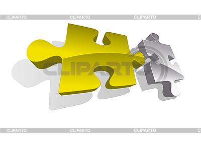 Ilustracja wektora złota i srebra puzzle | Klipart wektorowy |ID 3022228