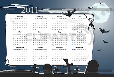 Halloween calendar 2011 with cemetery    Stock Vector Graphics  ID 3022321