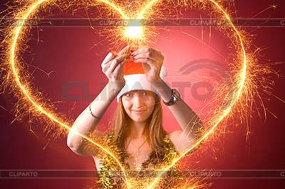 Attractive girl drawing heart    High resolution stock photo  ID 3022436
