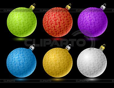 색된 크리스마스 공의 집합 | 벡터 클립 아트 |ID 3022473