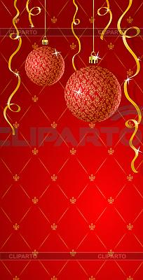 红色的贺卡与圣诞装饰品 | 向量插图 |ID 3022547