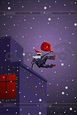 Parkour Święty Mikołaj | Stockowa ilustracja wysokiej rozdzielczości |ID 3022555