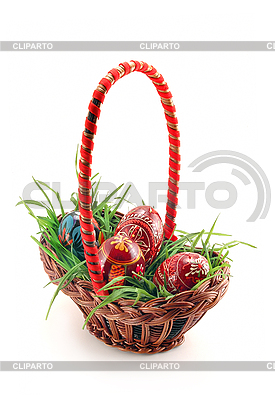 Basket with grass and eggs | High resolution stock photo |ID 3023267