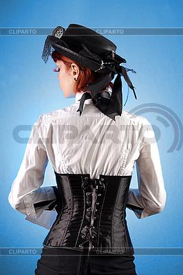 빅토리아 스타일 옷에서 아름 다운 여자의 후면보기 | 높은 해상도 사진 |ID 3023320
