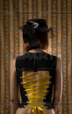 Girl in corset and vintage hat with veil | High resolution stock photo |ID 3023329