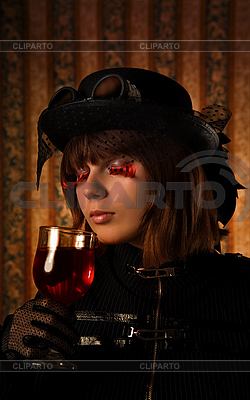 Fashionable girl with glass of wine  | High resolution stock photo |ID 3023330