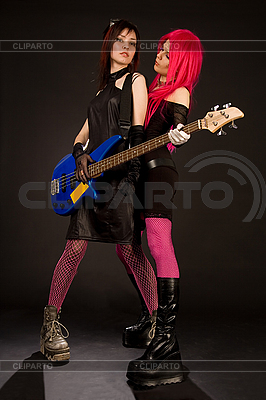 Two rock girls with bass guitar   High resolution stock photo  ID 3023365